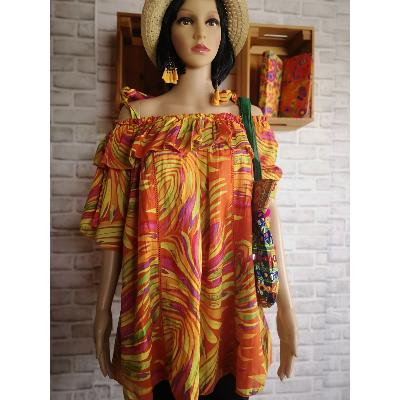 Top Motifs Multicolore Orange