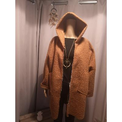 Manteau Capuche Coupe Large Moutarde