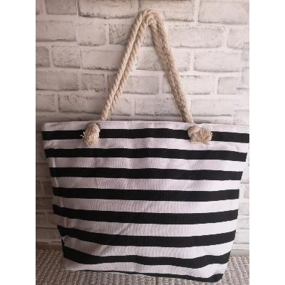 Grand Sac Cabas bicolore noir