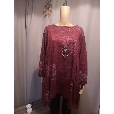 Pull Tunique Ample Bordeaux
