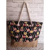 Grand Sac Cabas Multicolore Noir