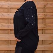 Miho's Tunique Noire Rayonne Strass manches longues Femme